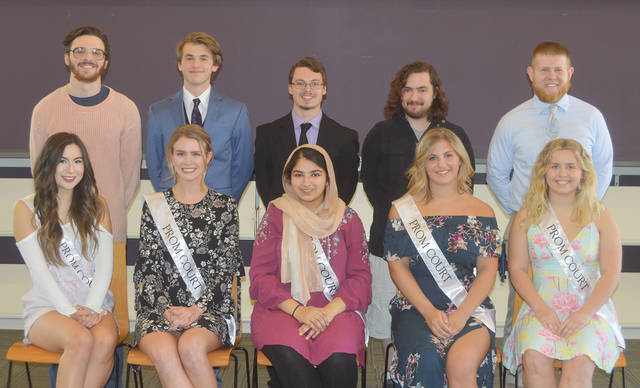 Butler High School has announced the 2018 Prom Court. Standing left to right are Samual Fischer, Branden Fischer, Troy Abele, Dewey Lewis, Keagan Sommer; seated left to right is Stephanie Marcum, Sarah Droesch, Baria Choudry, Emma Childers, and Courtney Kessler. The Prom, under the theme of Van Gogh's Starry Night, will be held Saturday, April 21 at the Butler Student Activities Center.