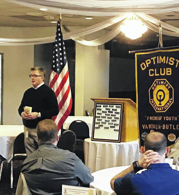 Mark Miller from MONCO spoke to the Vandalia-Butler Optimist Club on Tuesday. MONCO enterprises has focused on employing adults with developmental disabilities in the Miami Valley for more that 47 years.