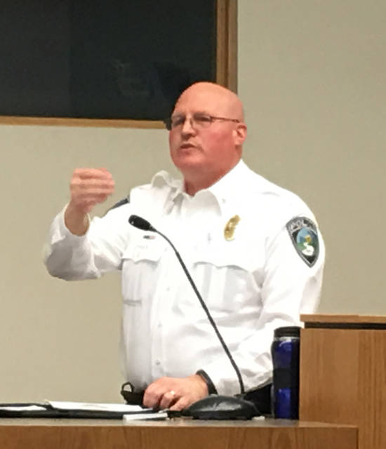 Butler Township Police Chief John Porter spoke to members of the Imperial Hills Neighborhood Watch on Monday, April 9.