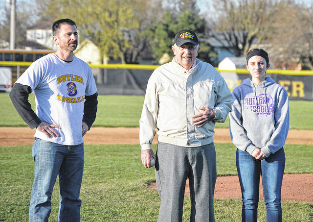 1946 Butler graduate Dick Sherer, who played for the Aviators from 1943-46, threw out the ceremonial first pitch Friday evening as the Aviators blanked Xenia on Alumni Night.