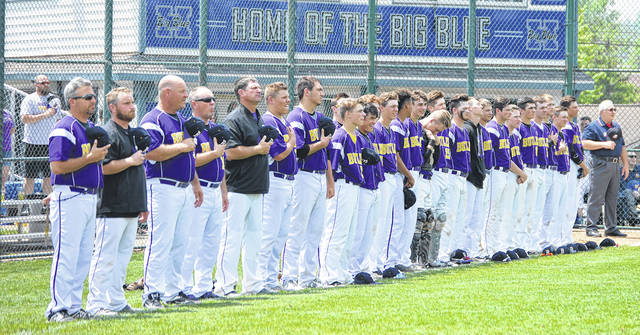 The Butler baseball team was introduced prior to the National Anthem during their District final game versus Moeller at Hamilton High School on Sunday.
