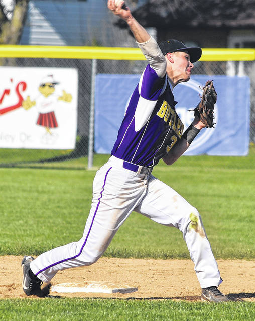 Dolen Fults makes a throw to first during Butler's win over Tippecanoe.