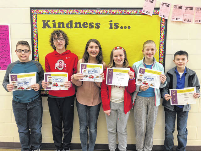 Congratulations to the Morton Middle School sixth grade Aviators of the Month for February, 2018. Pictured left to right are Kai Adams, Nolan Baker, Grace Louderback, Olivia Williams, Danielle Koewler, and AJ Hathaway.
