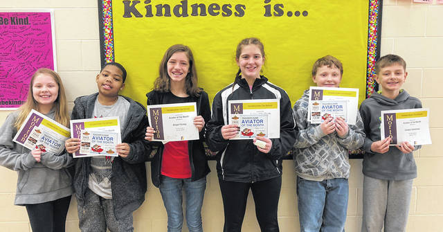 Congratulations to the Morton Middle School sixth grade Aviators of the Month for January, 2018. Pictured left to right are Allison Guthrie, Jevonte Holland, Abigail Susag, Madalyn Strehle, Dakota Kimmel, and Holden Eshelman.