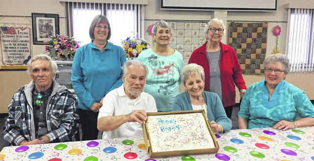 The Vandalia Senior Center recently celebrated April birthdays. Seated left to right are C. J. Jackson, Claude Snyder, Eva Hooper, and Donna Shirley; standing left to right are Karen Mason, Fran Duell, and Judy Laughter. Thanks to Crossroads Rehab for providing the cake.