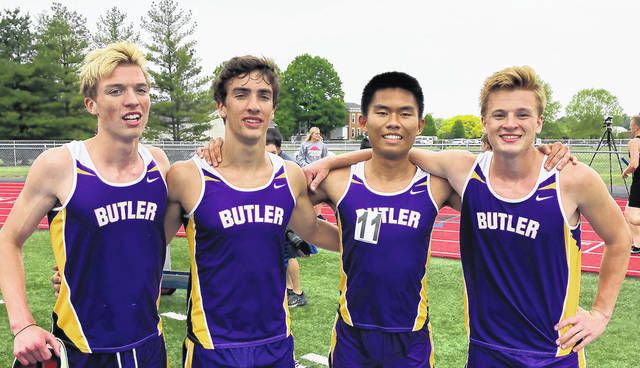 The Butler boys 4x800 meter relay team of, left to right, Gabe Warren, Kyle Wertz, Long Fa Lin, and Adam Gunkel won the event and qualified for Regional at the Division I Track and Field District meet at Piqua High School.