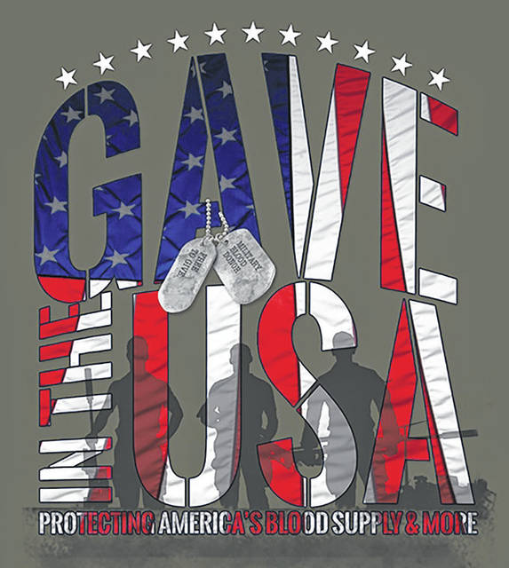 """Everyone who registers to donate at the Vandalia United Methodist Church blood drive will receive the May Military Appreciation Month """"Gave in the USA"""" t-shirt."""