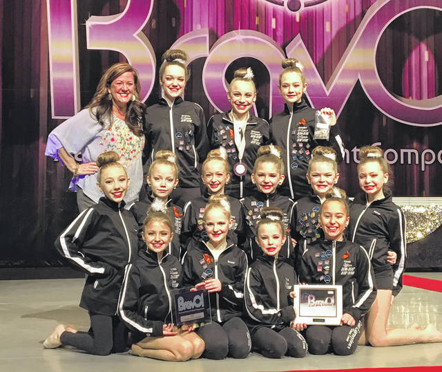 Mini Expressions Lyrical team shows off their Bravo Talent first Overall and Best Choreography awards.