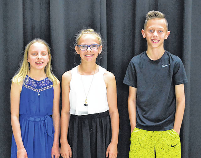 Congratulations to Smith Middle School students who participated in the annual Spelling Bee on Tuesday, May 22. Pictured left to right are first place winner Riley Howell, runner-up Scarlett Chambers, and third place finisher Lucas Caldwell.