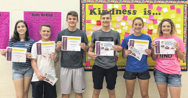 Congratulations to the Morton Middle School eighth grade Aviators of the Month for April, 2018. Pictured left to right are Danielle Wheeler, Logan Lee, Brayton Bishop, Mitchell Thomas, Kali Snyder, and Bailey Flohre.