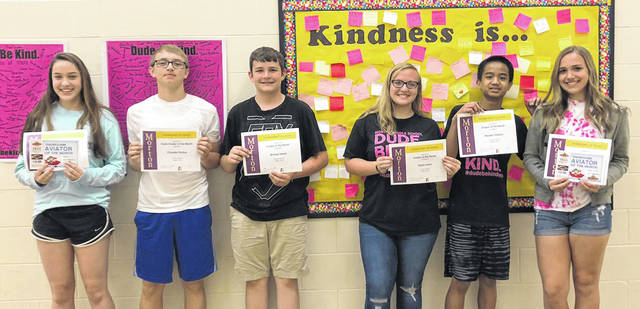 Congratulations to the Morton Middle School eighth grade Aviators of the Month for March, 2018. Pictured left to right are Ella Cole, Chandler Perdue, Michael Heeter, Kayla Lewis, Reuben Velasco, and Heather McBride.