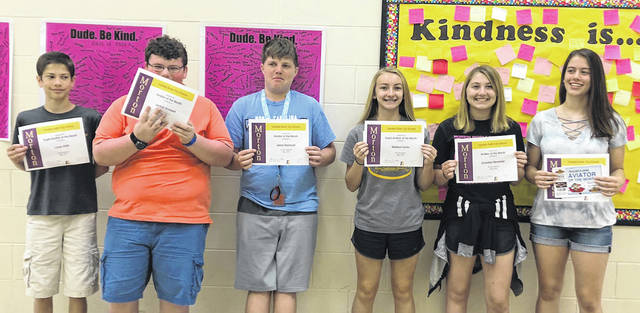 Congratulations to the Morton Middle School eighth grade Aviators of the Month for May, 2018. Pictured left to right are Lucas Vieth, Jaykob Anstaett, Jason Hochwalt, Madison Carter, Emmalee Marstellar, and Abby Plsek.