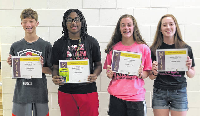 Congratulations to the Morton Middle School eighth grade Aviators of the Year for 2018. Pictured left to right are Casey Hargett, John Sorrells, Brooke Long, and Danielle Holop.