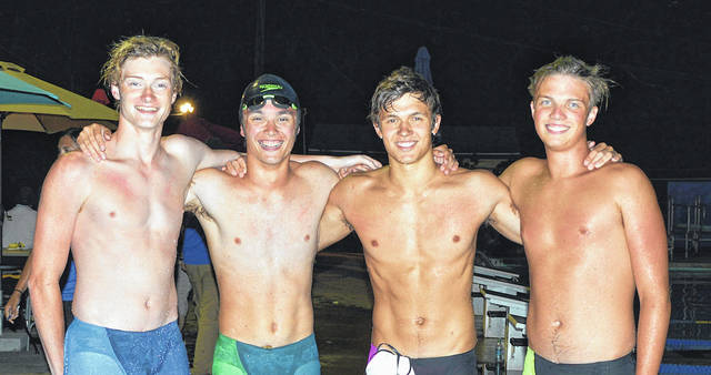 The Fair Valley Swim Team boys 15-18 relay team of (left to right) Jeff LaBianco, Colin Wolfe, Sam LaVielle, and Matt Brunksy broke the Greater Dayton Swimming Association record in a time of 1:41.03. Their time broke the previous record set by Fair Valley in 2012.