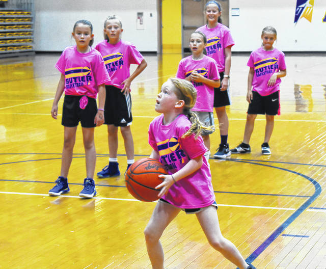 Over 107 girls in grades 2-8 attended the Butler girls basketball camp the week of June 4-7.