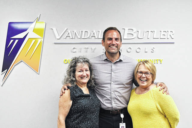 The Vandalia-Butler Board of Education recently recognized five retirees. Pictured with Superintendent Rob O'Leary are (left) Barbara Lamb and (right) Lita House. Not pictured are Joanne Johnson, Sharon King, and Douglas Race.