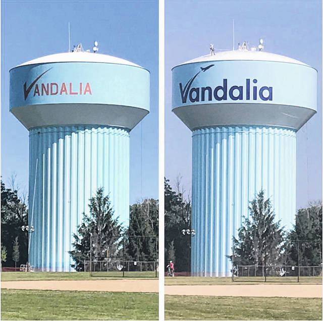 In this before (left) and after photo, the painting of the Vandalia water tower at the Vandalia Sports Complex is shown.