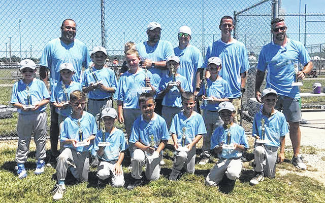 Congratulations to the Vandalia 8U All-Stars who earned a second place finish in the Tipp City tournament the weekend of July 7-8. The team is pictured left to right kneeling Ian Harker, Landon Whisman, Brody Renagado, Jake Neely, Xavier Hollander and Max Fairchild; middle row Brayden Fetters, Anderson Browder, Jackson Palm, Henry Amlin, Kale Evans, Connor Hines; back row coaches Ryan Palm, Justin Evans, Brandon Fairchild, James Hines and Ben Neely. Not Pictured is Caleb Woodward.