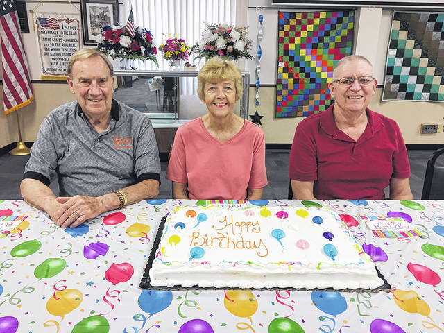 The Vandalia Senior Center recently celebrated member birthdays that fell in June. Pictured left to right are Joe Dillhoff, Jane Flory, and Byron Allen. Thanks to Friendship Village for providing the cake.