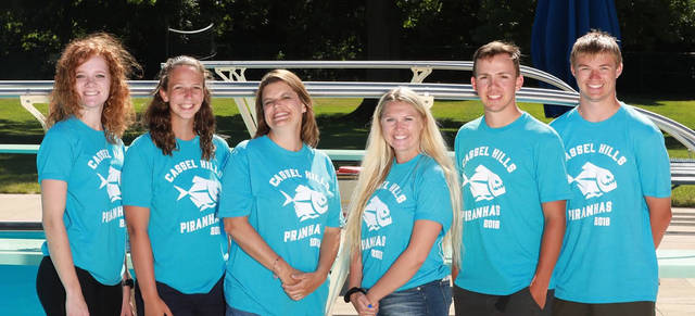 The Cassel Hills Piranhas coaches are, left to right, Madeline Martin, Ali pierce, head coach Deanna Murlin, lead assistant coach Delaney Schreiber, Connor Whelan and Justin Parrett.