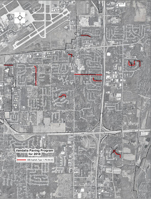 This City of Vandalia map shows streets in red that will be resurfaced during the city's annual street resurfacing project.
