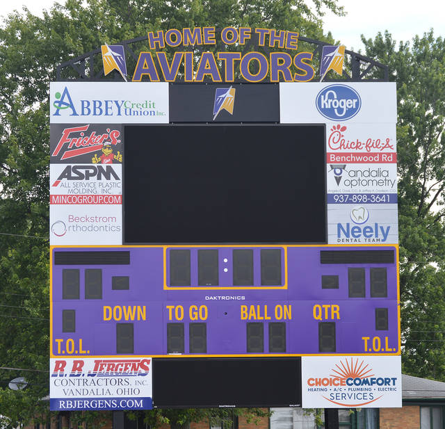 The new scoreboard at Butler Memorial Stadium is near completion. The project, which cost nearly $250,000, used no tax dollars for funding.
