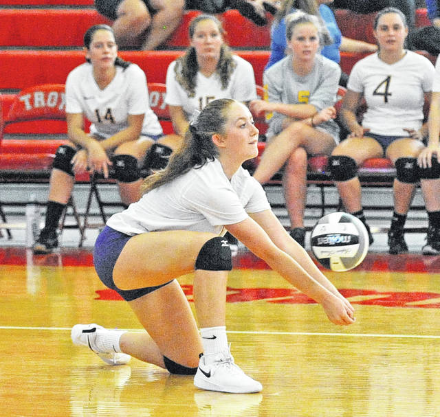Butler's Dani Holop goes for a dig during the Aviators' match versus Troy on Tuesday.