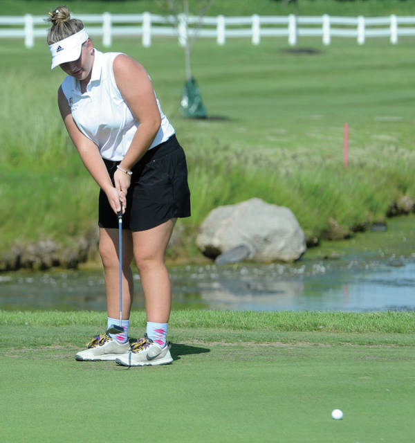 Breanne Kroeker of Vandalia-Butler putts the ball in Tuesday's match against Piqua at Echo Hills.