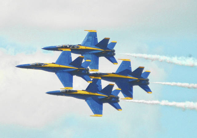 The U.S. Navy Blue Angels perform at the Vectren Dayton Air Show presented by Kroger on Sunday, June 24, 2018.