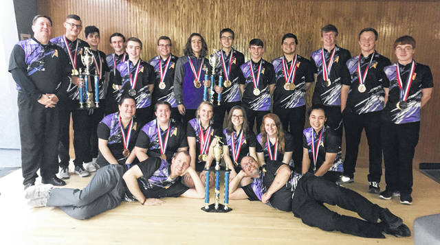 The Butler bowling teams are pictured after sweeping the varsity and junior varsity divisions of the Zanesville Beast of the East tournament during the 2017-18 season.