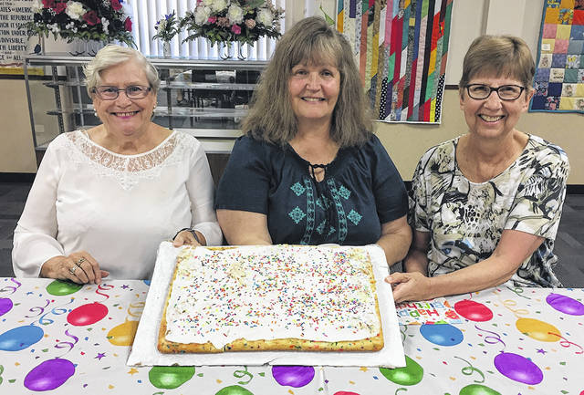 The Vandalia Senior Center recently celebrated July birthdays. Pictured left to right are Flo Neff, Bonnie Roberts, and Barb Gels. Thanks to Crossroads Rehabilitation for providing the cake.