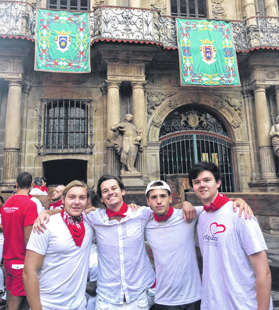 Erik Princi, a 2017 Butler High School graduate, recently traveled to Pamplona, Spain to take part in the San Fermin Festival, famous for the Running of the Bulls. Princi, a student at Florida State University's Valencia Study Center in Spain, is pictured left to right with Max Bell, Nick Cave, and Carter Phillips.