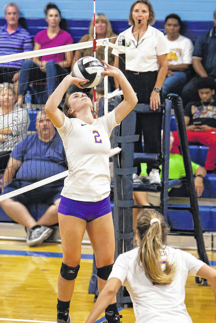Grace Swarts sets the ball during Butler's 3-set win at Fairborn on Thursday.
