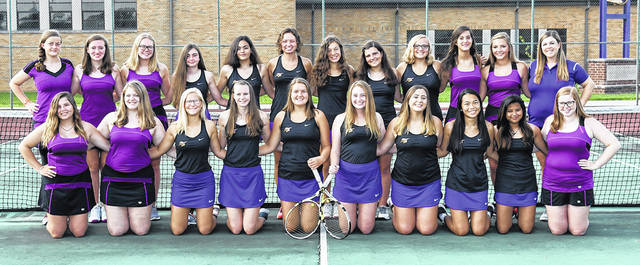 The GWOC American North co-champion Butler girls tennis team is front row, left to right, Madison Short, Alexis Roberts, Ashley Hess, Rachel Burton, Erin Dean, Tori Studebaker, Hannah Scarpelli, Xia Lin, Johanna Velasco, Lydia Martin; back row, left to right, Aspen Nielsen, Lily Susag, Katie Bonifas, Madilynn Hager, Cici Christner, Brooke Baker, Priya Petty, Liz Huddleson, Kayla Lewis, Elaina Kennedy, Nicole Burley, and head coach Amanda Paul. Not pictured is Rachel Shively, and assistant coaches Bill Bihn and Ryan Paul.