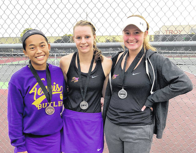 Butler's Xia Lin (left) was fourth in the first singles bracket while Tori Studebaker and Rachel Burton were second in the second singles bracket at the GWOC Gold Flight Tournament on Thursday.