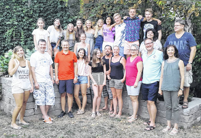 Vandalia Sister Cities Youth Exchange paired four students from Vandalia with counterparts in Lichtenfels, Germany. Pictured with their families are Emma Lauer, hosted by Katie Ramont; Sherly Kraus hosted by Rachel Shively; Victoria Thiel hosted by Kaitlyn Jackson; and Thomas Vieweg was hosted by Adam Gunckel.