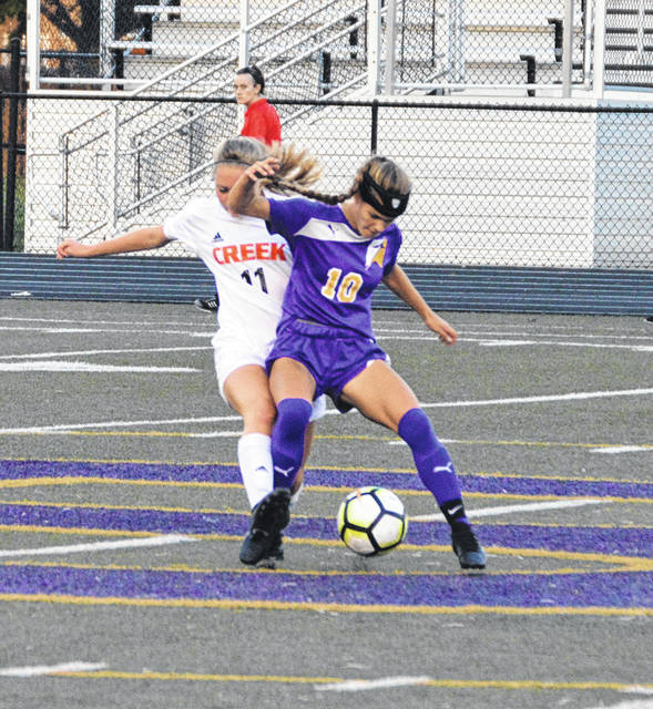 Anastasia Kirchner battles a 'Creek defender for possession during Butler's loss to Beavercreek on Wednesday.