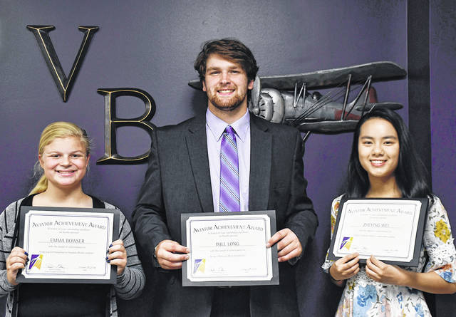 The Vandalia-Butler Board of Education recognized three students with Aviator Achievment Awards on Tuesday night. Pictured left to right are Emma Bowser, Will Long, and Zheying Wei.