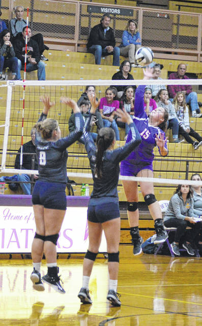 Taryn Butler goes for a kill during Butler's loss to Fairmont in the first round of the OHSAA sectional tournament.