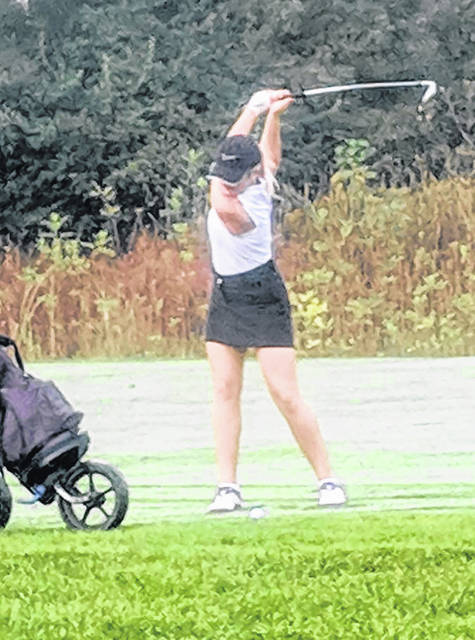 Lexi Crawford takes a shot during the OHSAA Sectional Tournament at Yankee Trace Golf Club.