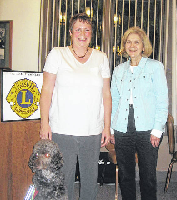 Pictured is Jenni Lough Watson (left) with Lion Program Chairperson Dee Smith.