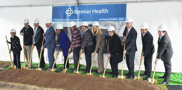 Vandalia Mayor Arlene Setzer (left) and Vice Mayor Richard Herbst (second from left) join Premier Health Executives in a ceremonial ground breaking at the site of Premier Health's 45,000 square foot office building to be built at 600 Aviator Court.