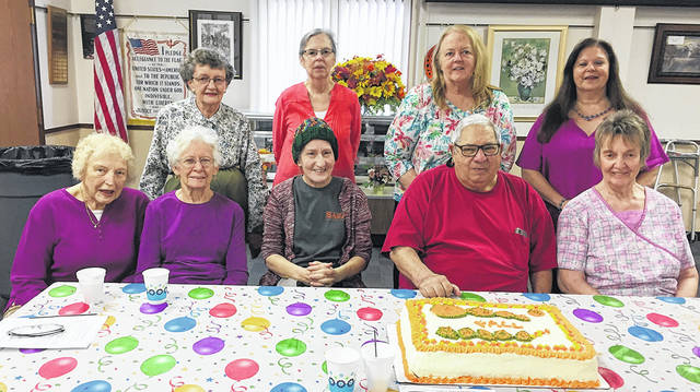 The Vandalia Senior Center recently celebrated September birthdays. Pictured back row, left to right, Stella Williams, Darby Harris, Linda Bracken, and Director Toni Williams; front row, left to right, Phyllis Via, Bert Sherman, Beverly North, Jerry Cohen, and Melody Cauley. Thanks to Friendship Village for providing the cake.