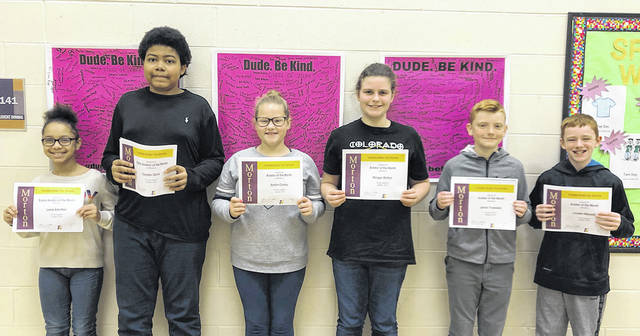 Congratulations to the sixth grade Morton Aviators of the Month pictured left to right Lexie Albritton, Cayden Davis, Ashlin Conley, Morgan Britton, Jacob Truesdale, and Louden Maxwell.
