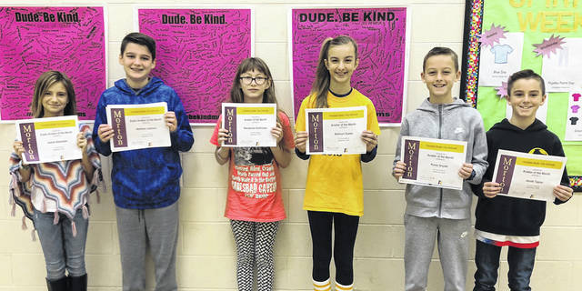 Congratulations to the sixth grade Morton Aviators of the Month pictured left to right Isabel Alexander, Matthew Jackson, Mackenzie Kohlrieser, Addison Suess, Korey Snyder, and Jacob Taylor.