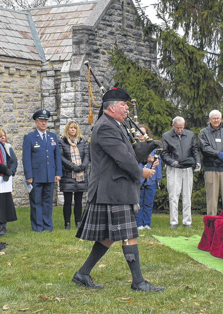Bagpiper Del Barund of the Antioch Bagpipers played Amazing Grace to open the Veterans' Day Ceremony at Dayton Memorial Park on Monday.
