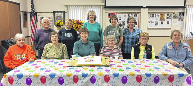 The Vandalia Senior Center recently celebrated members' October birthdays. Pictured front row, left to right, is Nancy Clark, Janet Weddell, Kathy Halda, Judy Wood, Nancy Omlor, and Kris Williamson; second row, left to right, Sharon Stevens Mary Ann Fisher, Nan Danzig, Judy Weeks, and Sandy Hagen. Thanks to Crossroads Rehabilitation for providing the cake.