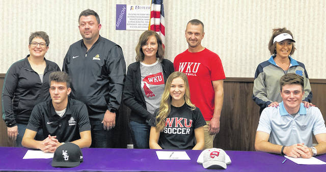 Congratulations to three Butler Aviators who signed National Letters of Intent on National Signing Day. Pictured left to right, Braedon Norman committed to play baseball at Wright State University, Maddie Mitchell committed to play soccer at Western Kentucky University, and Austin Greaser committed to play golf at the University of North Carolina.