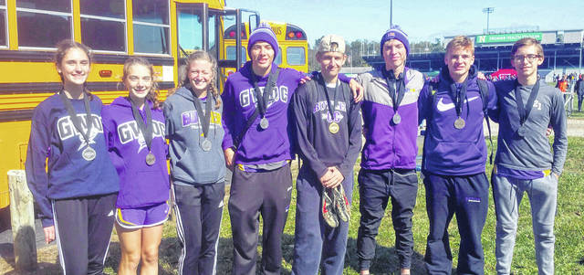 Congratulations to the Butler Aviator Cross Country team members who earned All-Conference honors. Pictured left to right are Eva Stalter, Elizabeth Kilgore, Abbie Schoenherr, Matt Mescher, Austin Neff, Gabe Warren, Adam Gunckel, and Jackson McClain.