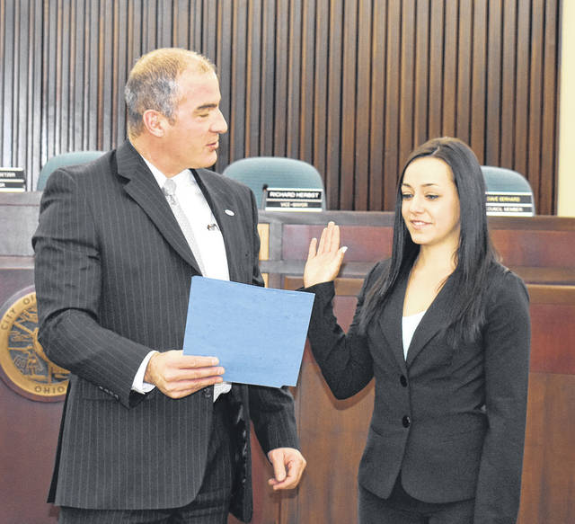 Vandalia's newest police officer Julie Hinders was given the oath of office Tuesday morning by City Manager Jon Crusey.